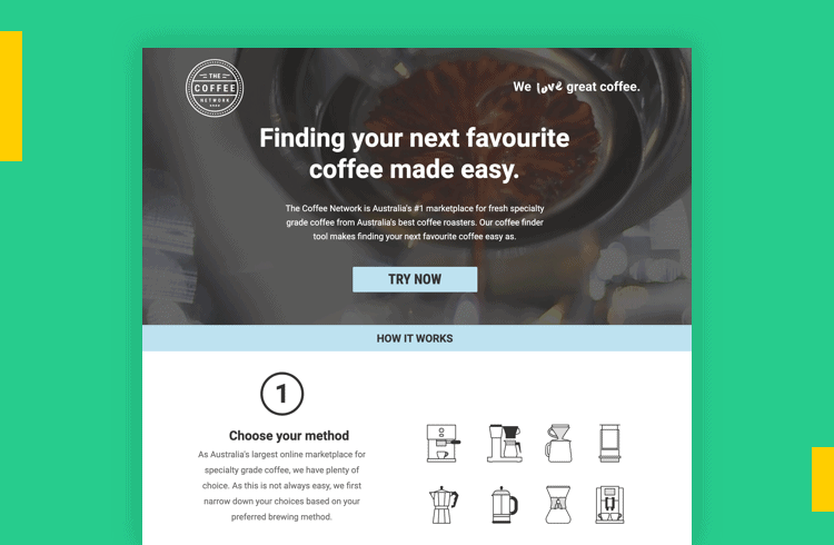 Sales Landing Page Examples - The Coffee Network