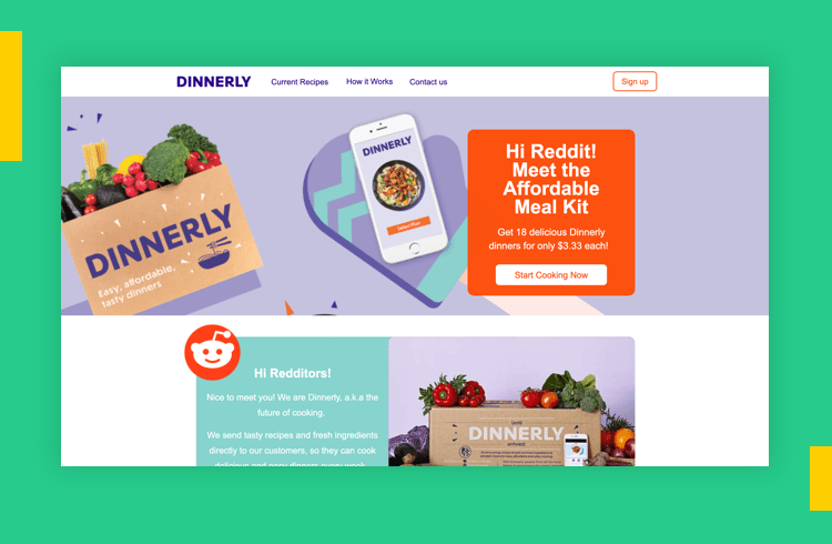 Sales Landing Page Examples - Dinnerly