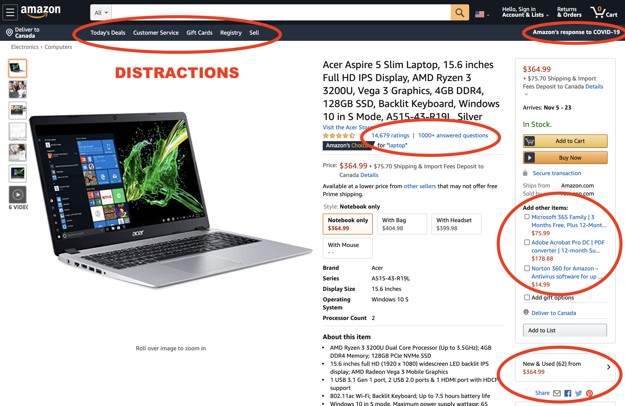 There are lots of links distracting visitors from Amazon pages