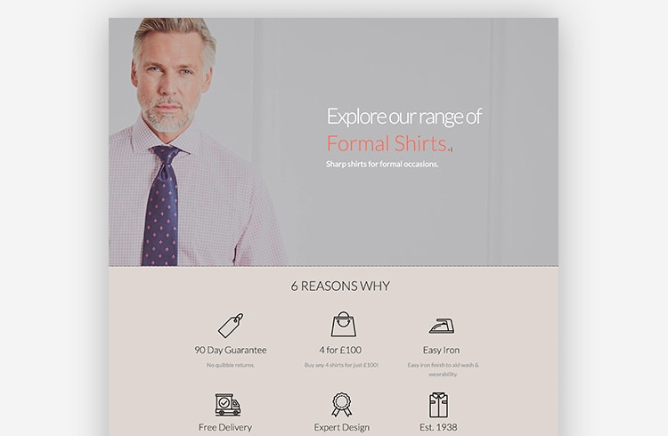 Smart Traffic Landing Page Example - Savile Row Company