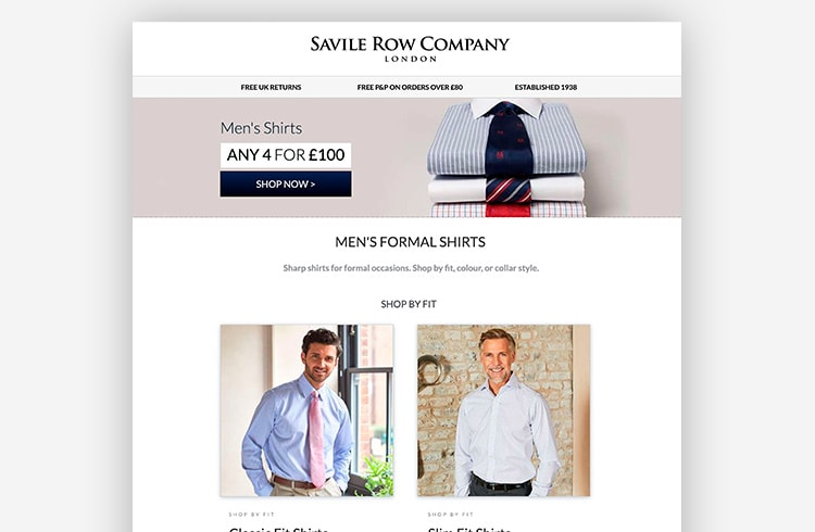 Smart Traffic Landing Page Variant - Savile Row Company