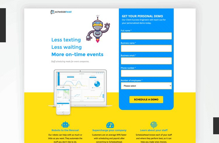 Facebook Landing Page Examples - Schedulehead