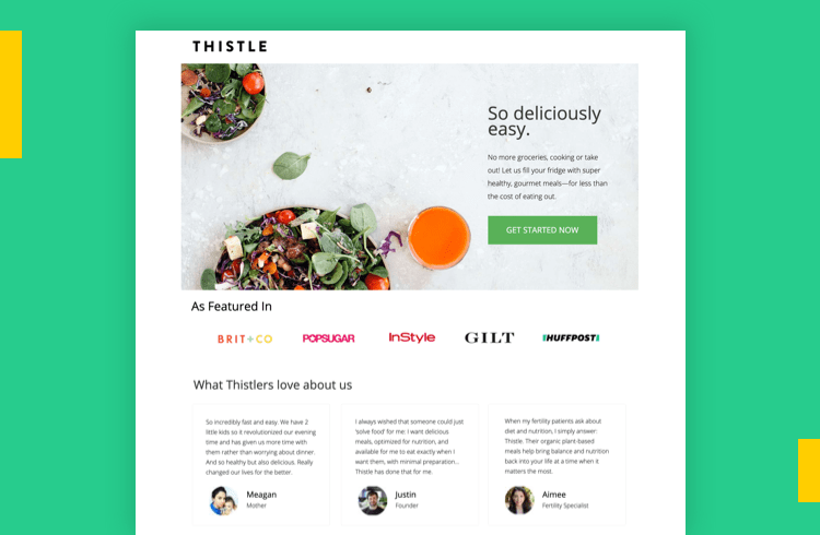 Sales Landing Page Examples - Thistle