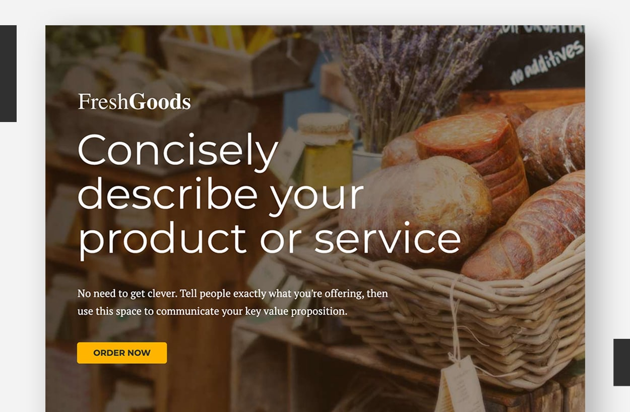 Landing Page Template Examples - FreshGoods