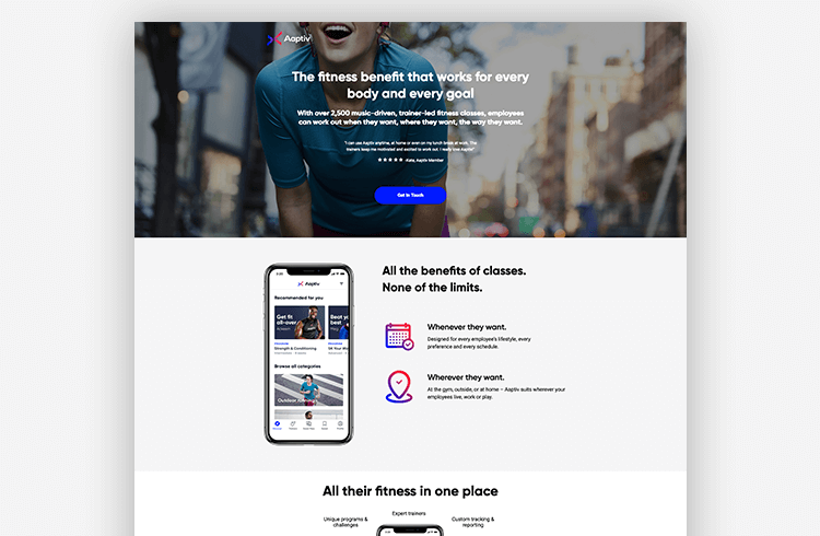 App landing pages: Aaptiv