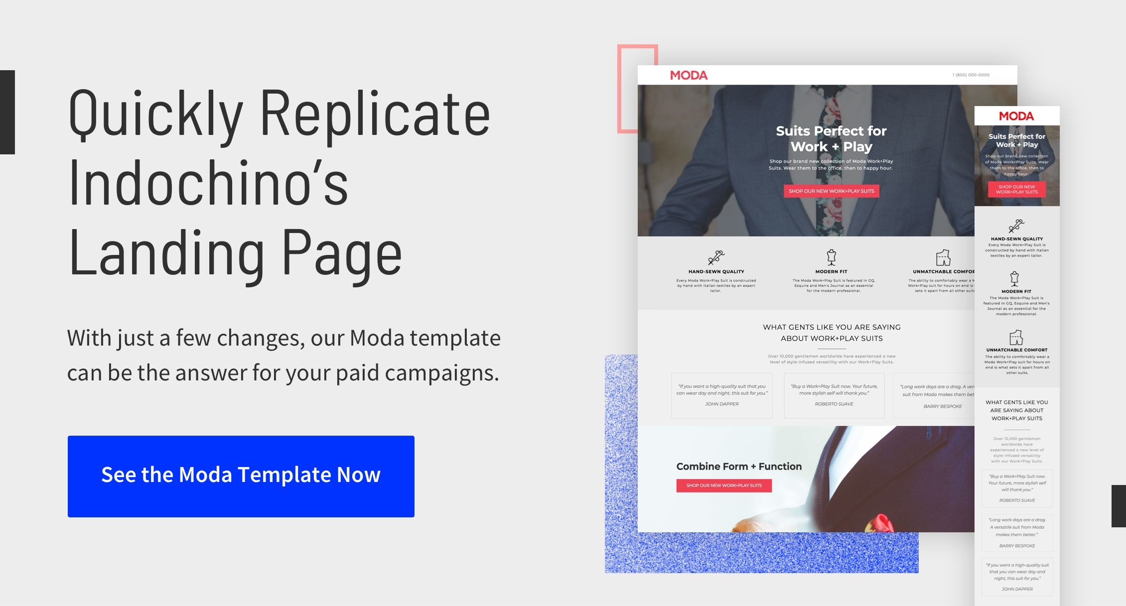 Quickly Replicate Indochino's Landing Page - Get the Template