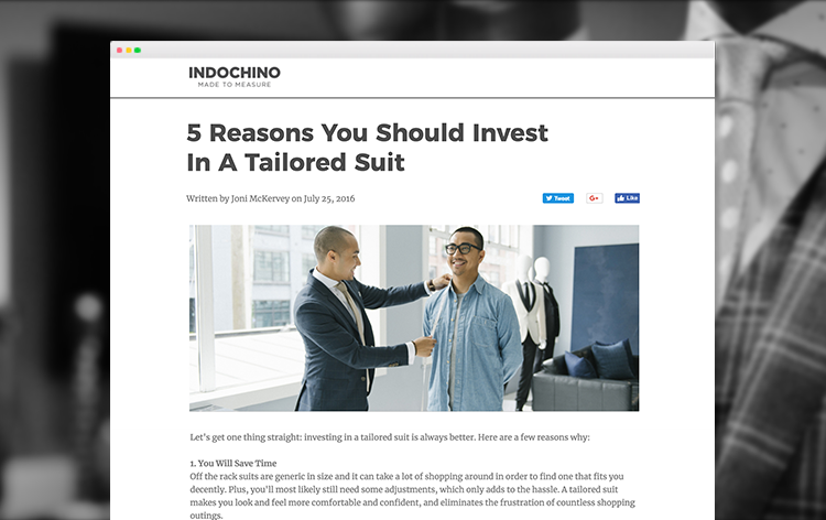 Example Mock Article from Indochino