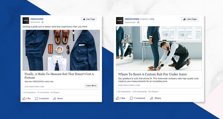 Indochino's example Facebook ads