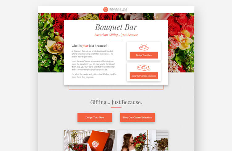 Best landing page examples: Bouquet Bar