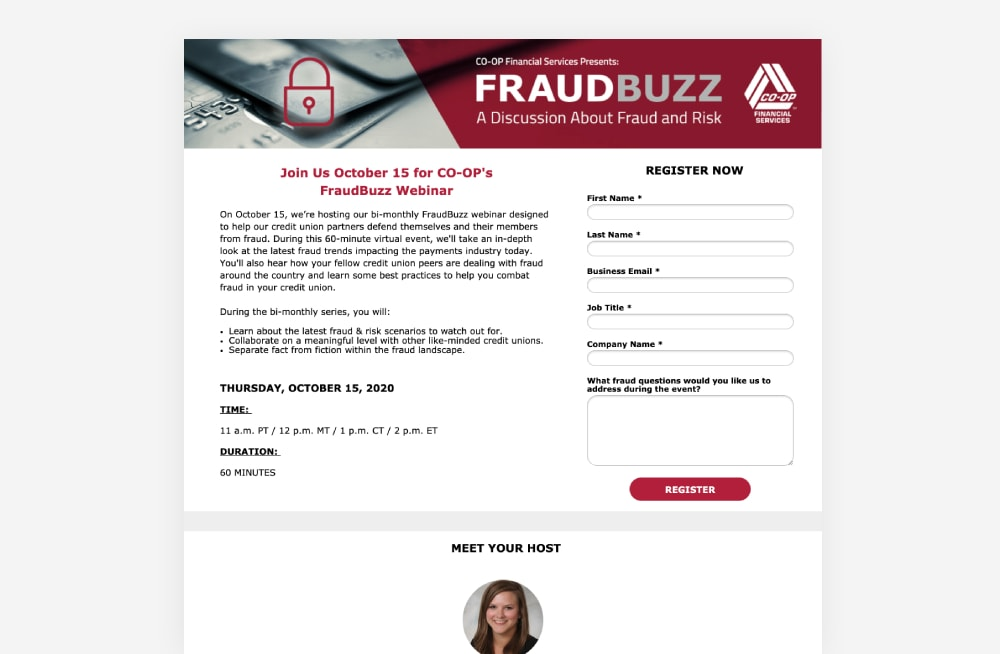 Event Landing Page Examples - Fraud Buzz