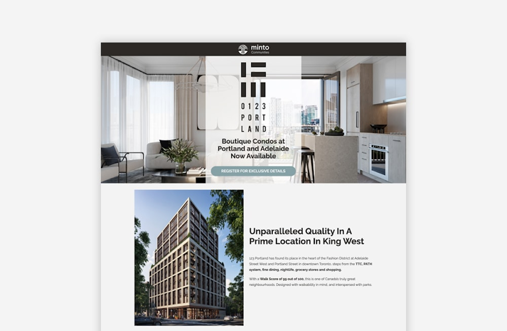Real Estate Landing Page Examples - Minto