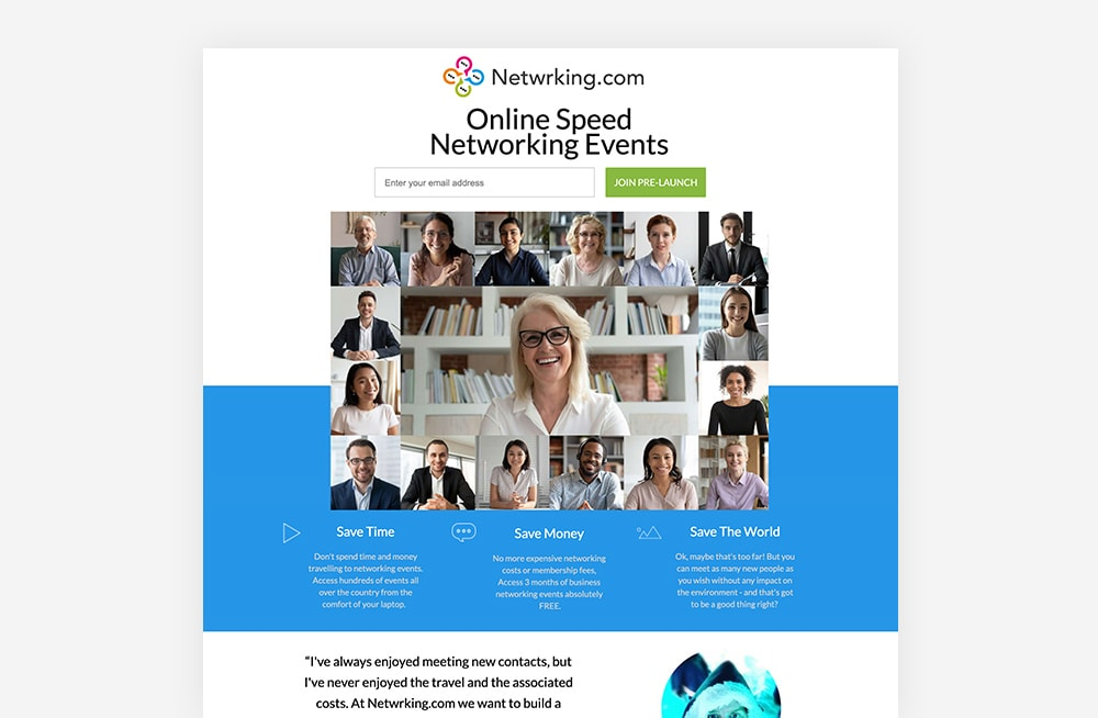 Event Landing Page Examples - Netwrking