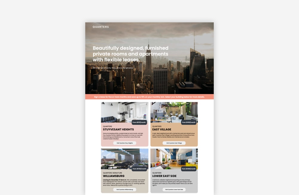 Real Estate Landing Page Examples - Quarters