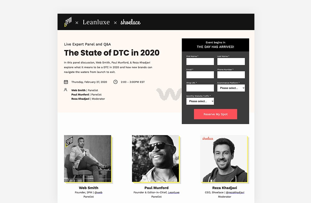 Event Landing Page Examples - Shoelace