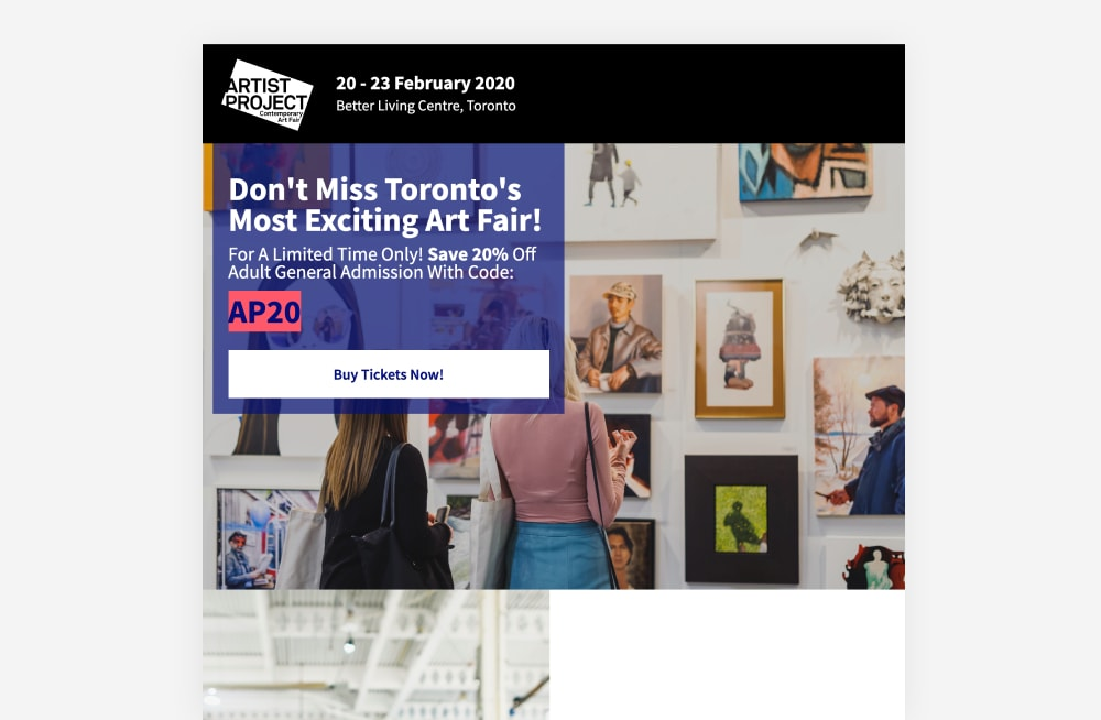 Event Landing Page Examples - The Artist Project