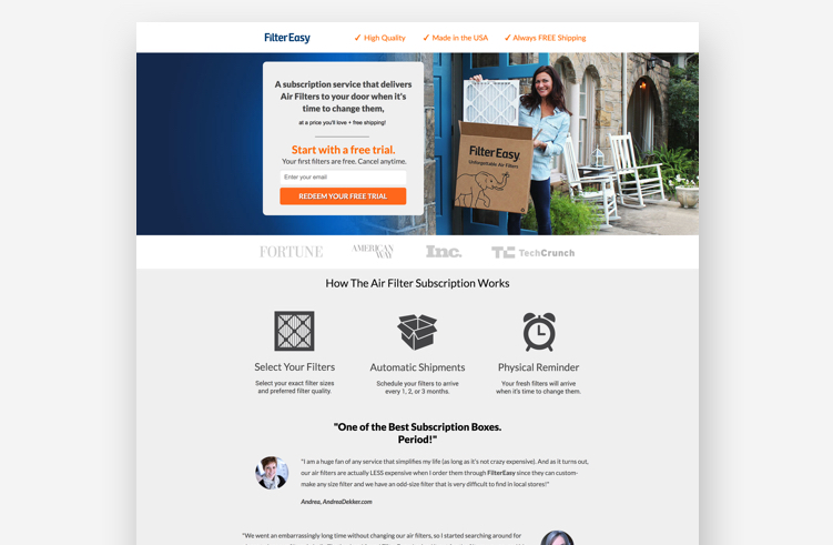 High-Converting Landing Page: FilterEasy