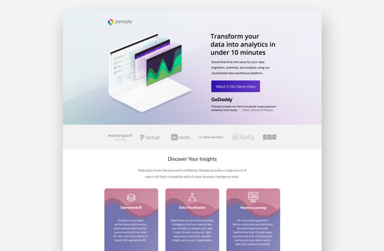 Best Landing Page Design: Panoply