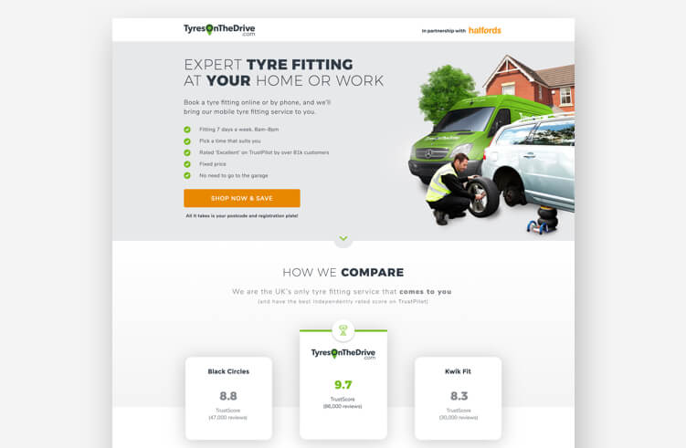 High-Converting Landing Page: TyresOnTheDrive